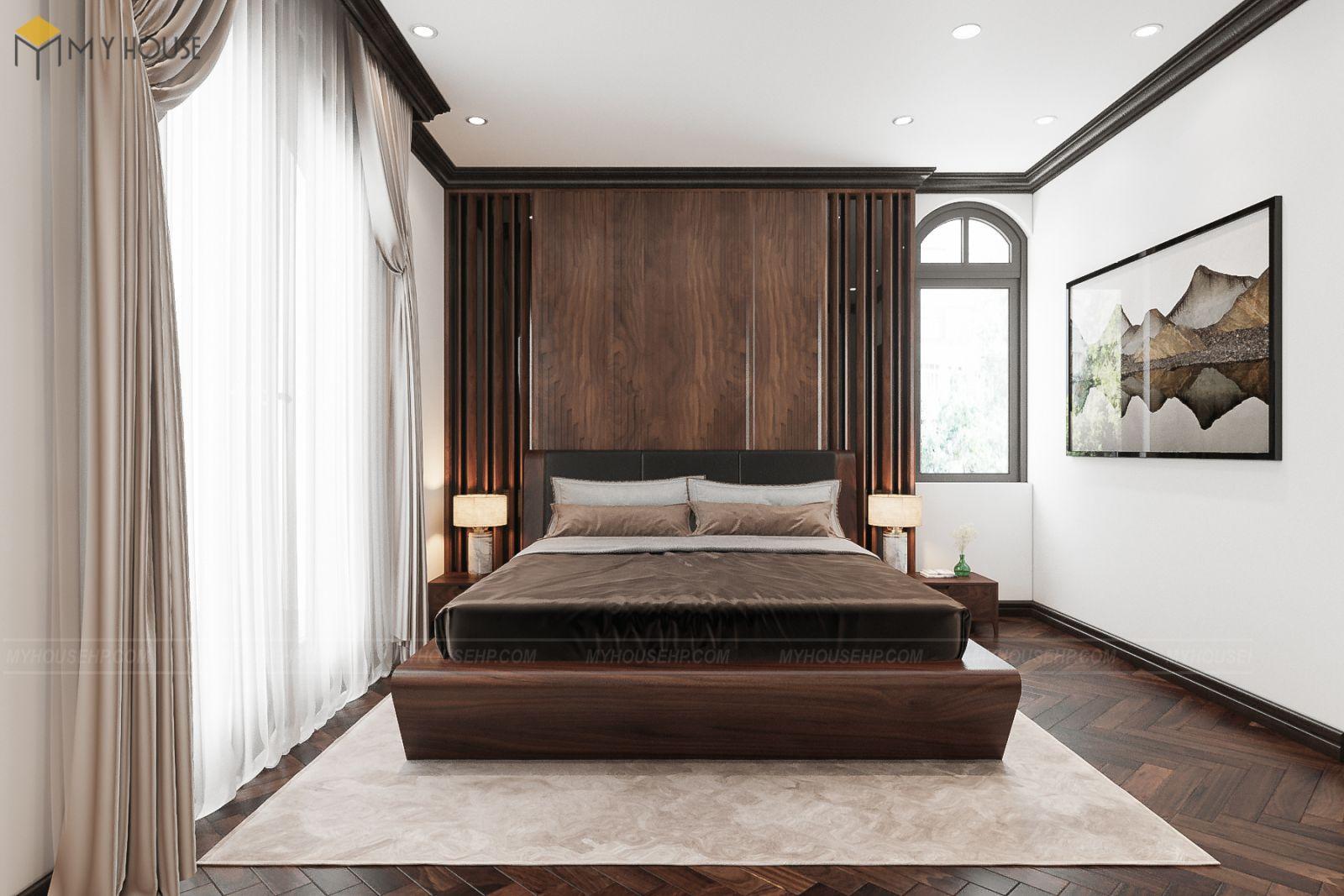 Biệt thự nội thất gỗ óc chó Vinhomes Marina