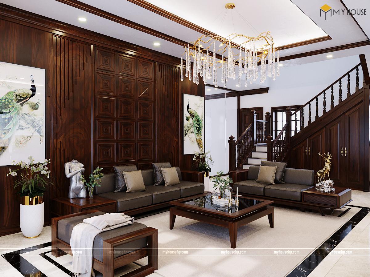 Biệt thự nội thất gỗ óc chó Dương Kinh