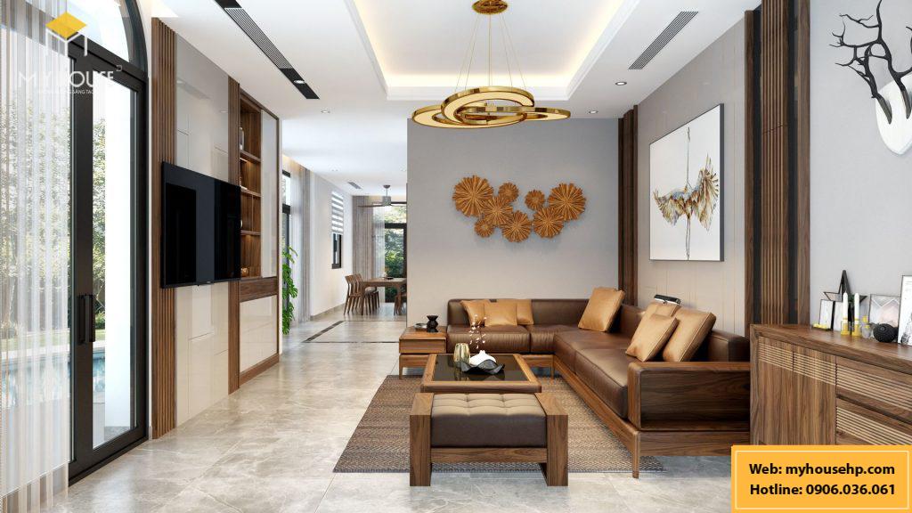 Thiết kế nội thất biệt thự Ecorivers Hải Dương bằng gỗ óc chó
