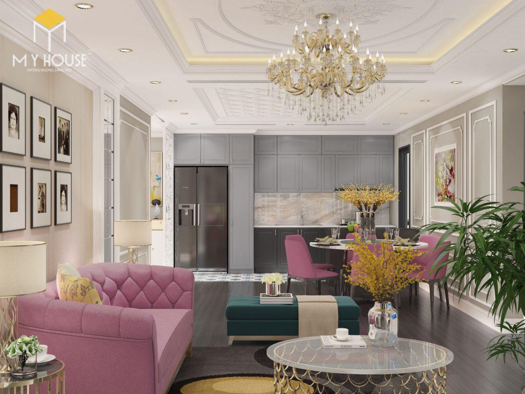 Thiết kế nội thất phòng khách chung cư Ecorivers Hải Dương