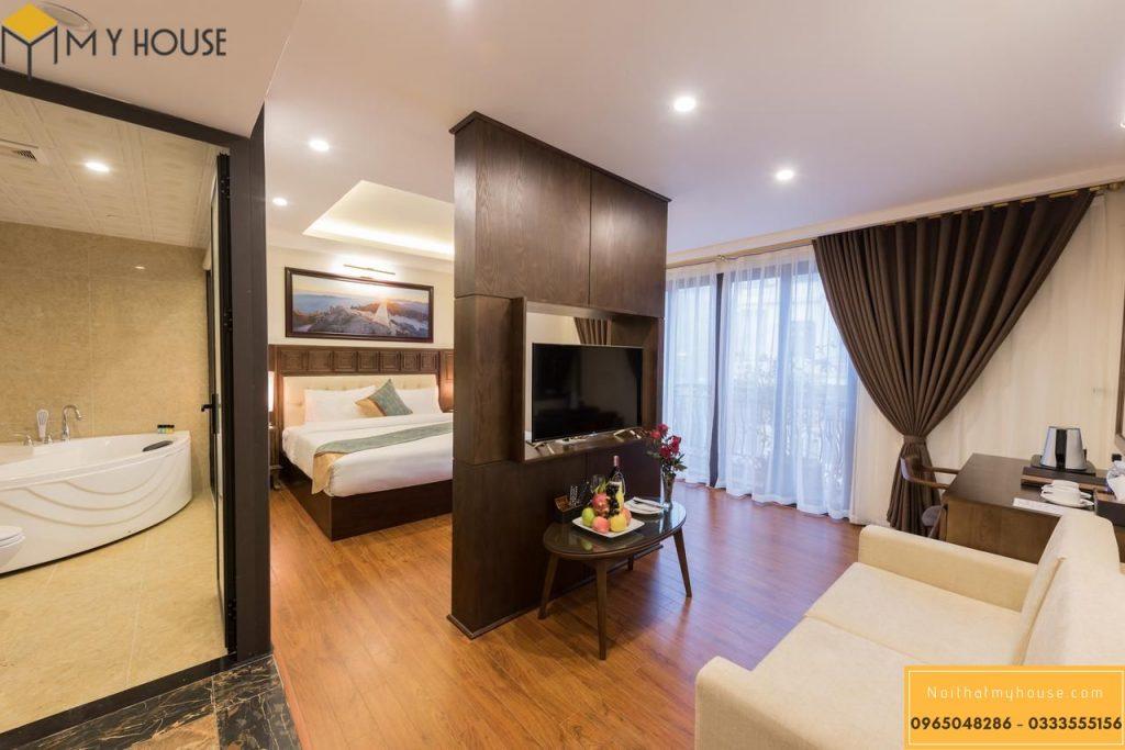 Gỗ tự nhiên là vật liệu chính sử dụng trong nội thất khác sạn 3 sao