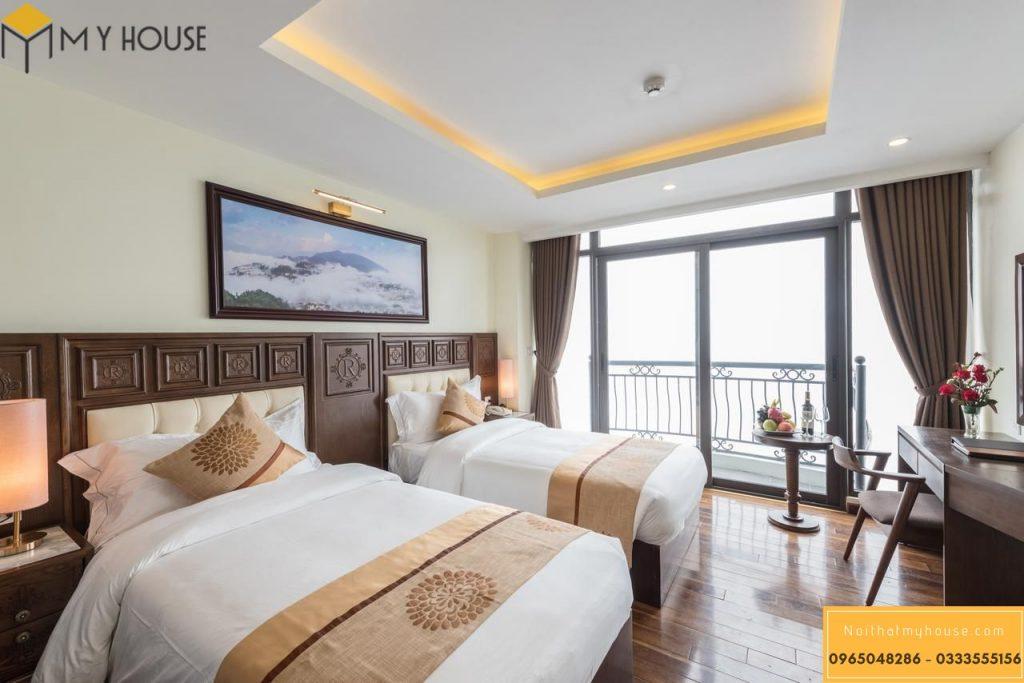 Phòng ngủ với thiết kế 2 giường đôi tinh tế