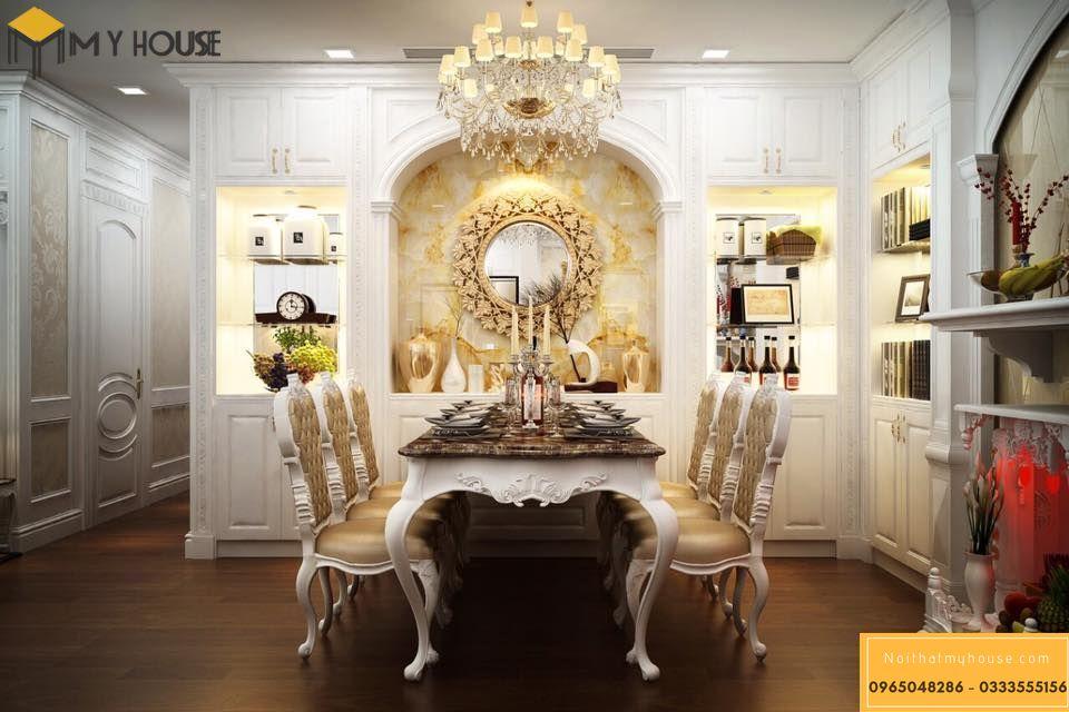 Thiết kế nội thất phòng bếp lâu đài Pháp