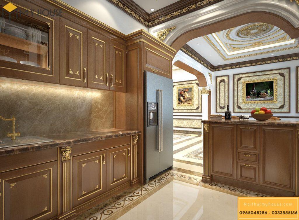 Nội thất khu vực phòng bếp lâu đài Pháp - Góc view 1