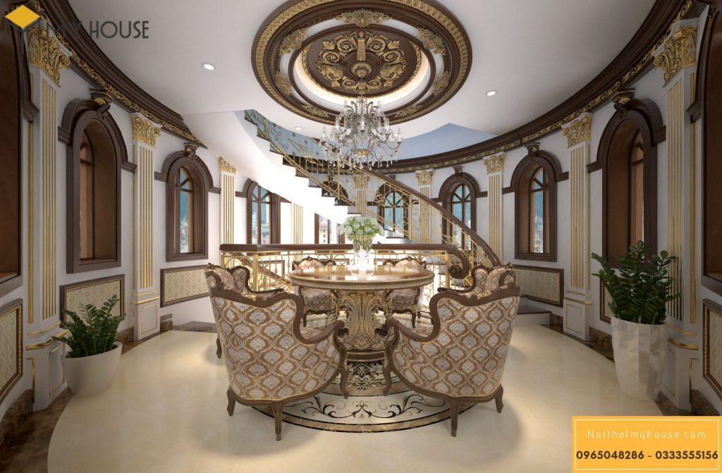 Khu vực bàn trà sảnh cầu thanh lâu đài đẹp
