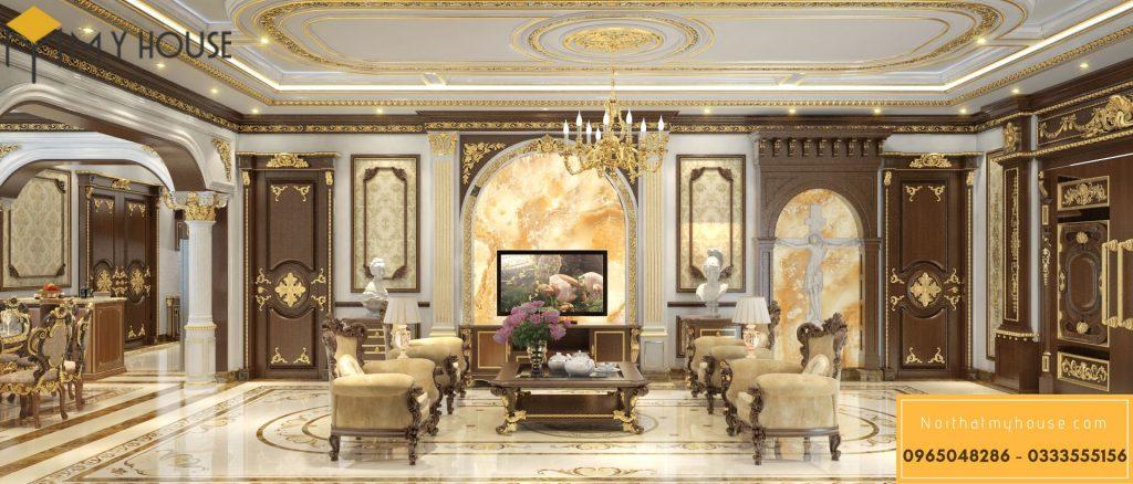 Mẫu nội thất phòng khách lâu đài kiểu Pháp - Góc view 1