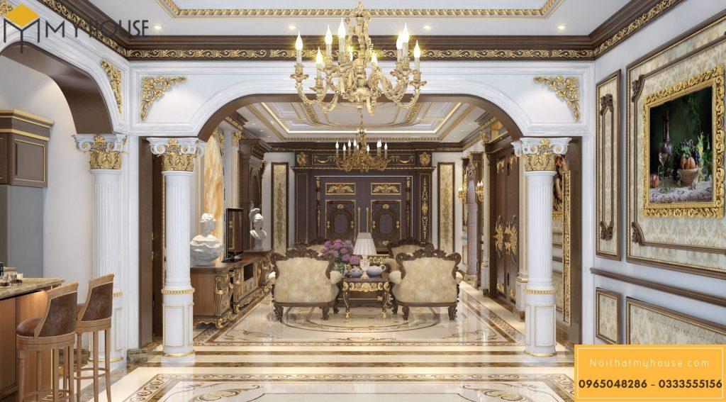 Mẫu nội thất phòng khách lâu đài kiểu Pháp - Góc view 3