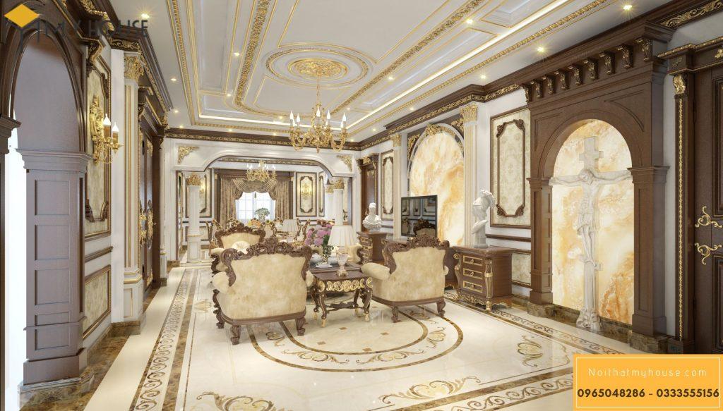 Mẫu nội thất phòng khách lâu đài kiểu Pháp - Góc view 2