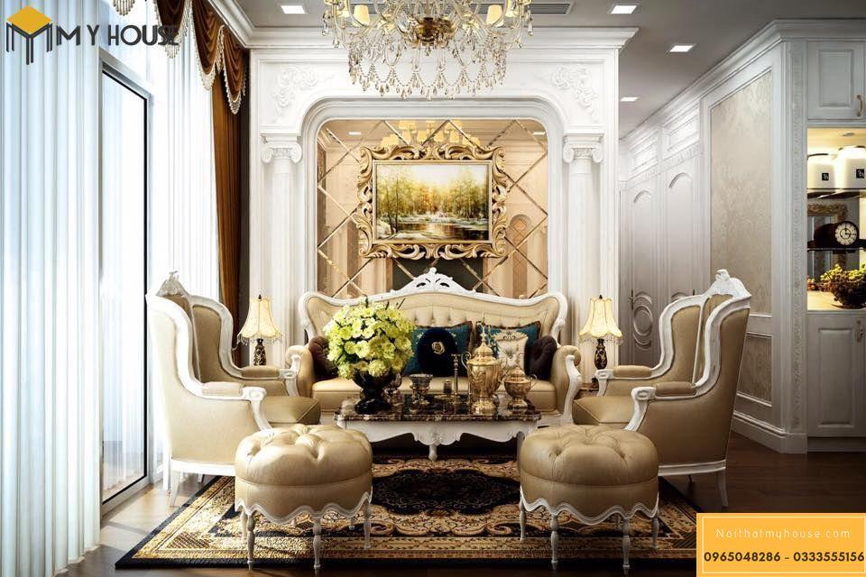 Thiết kế nội thất phòng khách lâu đài Pháp