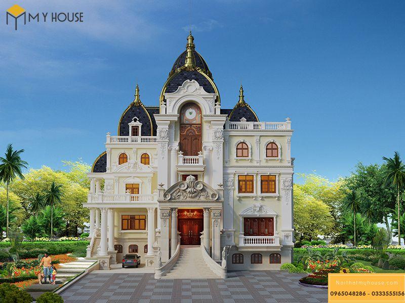 Thiết kế mặt tiền biệt thự lâu đài kiểu Pháp