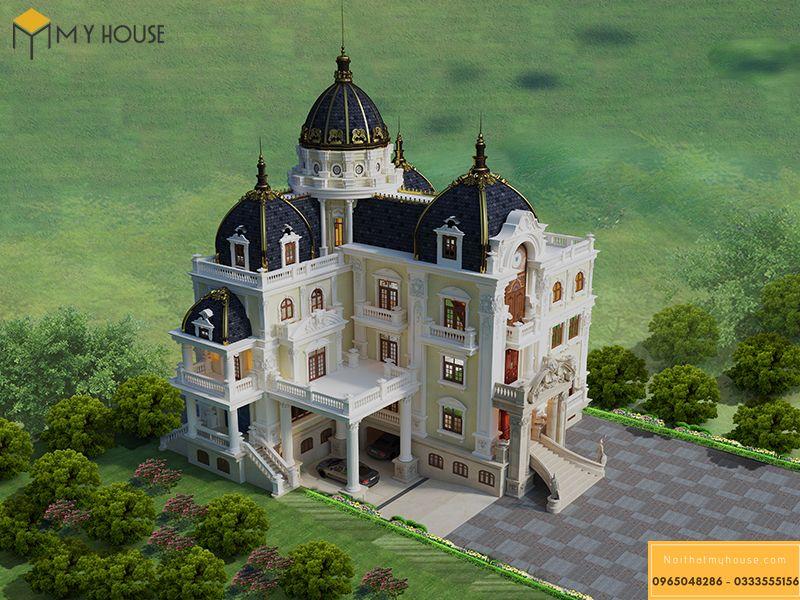 Thiết kế kiến trúc biệt thự Pháp 3 tầng