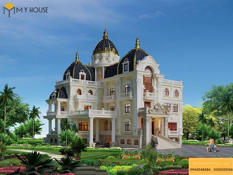 Thiết kế kiến trúc mặt tiền lâu đài Pháp