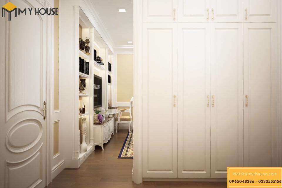 Phòng ngủ sử dụng nội thất bằng gỗ tự nhiên phun sơn trắng