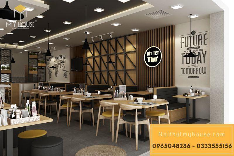 Bố trí nội thất nhà hàng ăn nhanh đơn giản đẹp - View 6