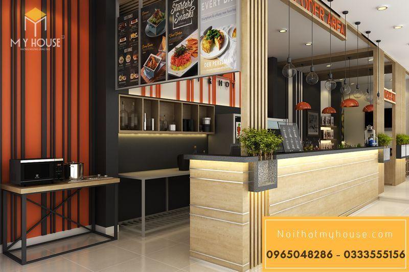 Bố trí nội thất nhà hàng ăn nhanh đơn giản đẹp - View 2
