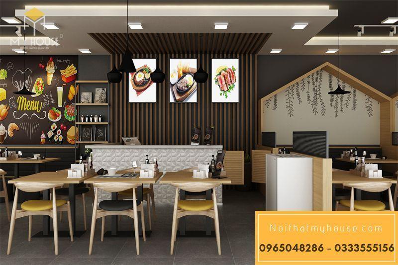Bố trí nội thất nhà hàng ăn nhanh đơn giản đẹp - View 9