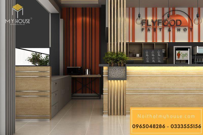 Bố trí nội thất nhà hàng ăn nhanh đơn giản đẹp - View 4