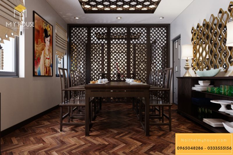 Với nhà hàng này thì vật liệu thường hay sử dụng là chất liệu gỗ.