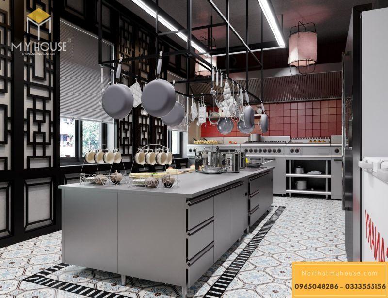 Phòng bếp chế biến đồ ăn nhà hàng Nhật - View 1